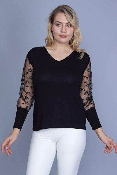 Şans Kadın Siyah Kolları Flok Tül Detaylı Viskon Bluz 65N25822