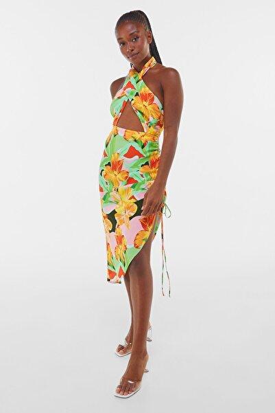 Bershka Kadın Turuncu Büzgülü Desenli Midi Elbise