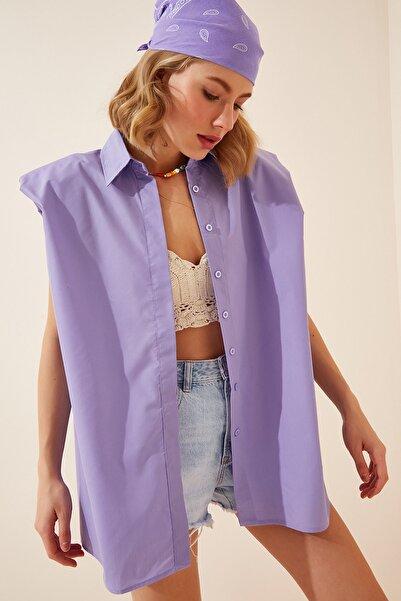 Happiness İst. Kadın Lila Vatkalı Oversize Poplin Gömlek US00598