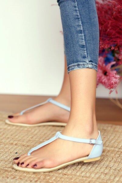 Pembe Potin Kadın Bebe Mavisi Parmak Arası Sandalet