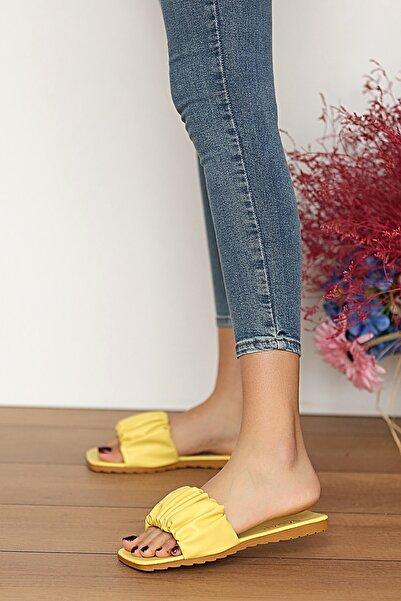 Pembe Potin Kadın Limon Sandalet