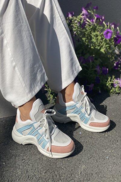 İnan Ayakkabı Kadın Beyaz Suni Deri  Spor Ayakkabı
