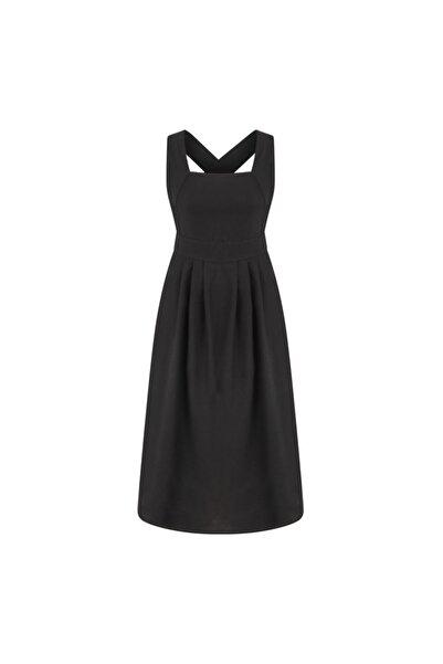 Mudo Sırt Detaylı Pamuk - Keten Midi Elbise