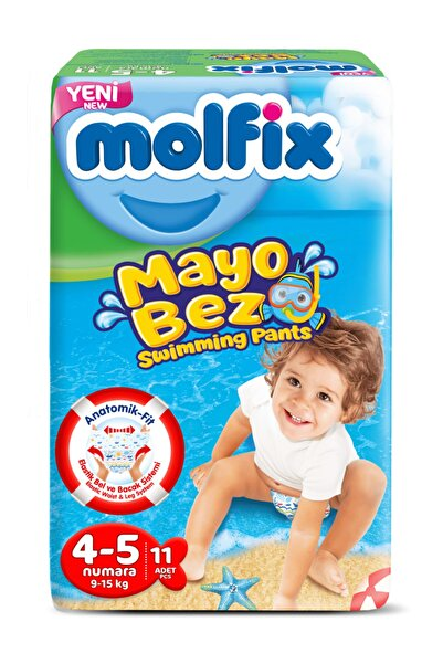 Molfix Mayo Bebek Bezi Swimming Pants 4-5 Beden 11 Adet 9-15 Kg