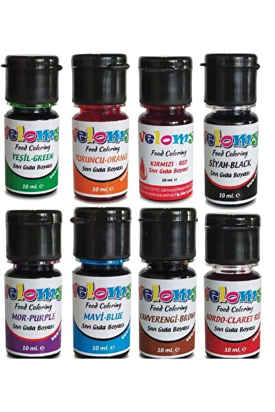 velomy 8 Adet 8 Renk Sıvı Gıda Boyası 10 Gr Su Bazlı Likit Gıda