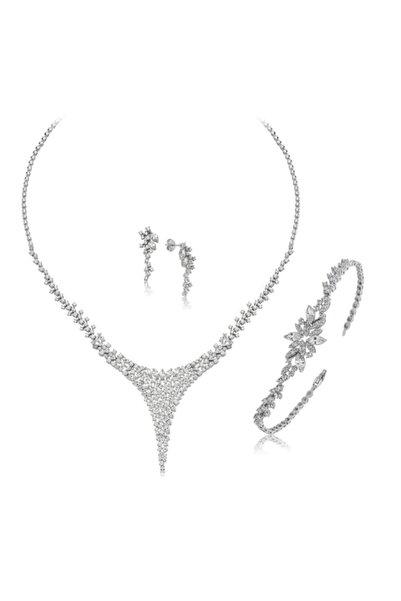 Mia Vento Pırlanta Montur Gümüş Su Yolu Set Takım
