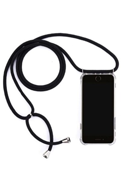 BilisimGo Iphone 6 Plus/ 6s Plus Için Boyun Askılı Şeffaf Kılıf Siyah Ipli