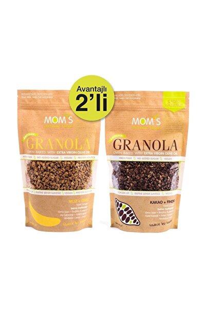 Mom's Natural Foods 2'li Granola - Muz Ceviz 360 gr - Kakao Fındık 360 gr