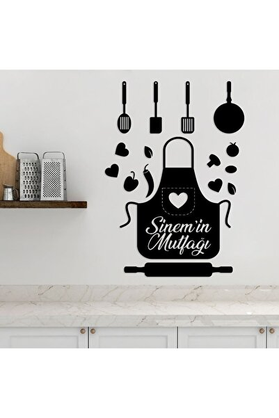 enozeli Mutfak Önlüğü Şekilli Isimli Mutfak Yazısı
