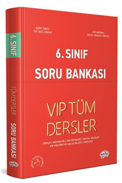Editör Yayınları 6. Sınıf Tüm Dersler Vıp Soru Bankası Kırmızı Kitap