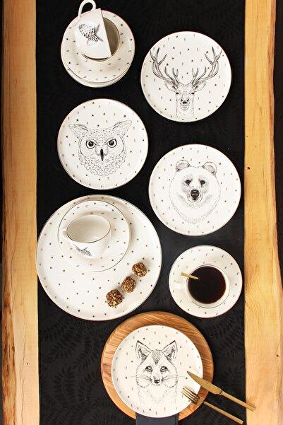 Porland Forest 13 Parça 4 Kişilik Pasta Çay Takımı