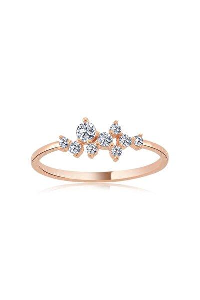 Mia Vento Asimetrik Işıltı Taşlı Rose Renk Gümüş Yüzük