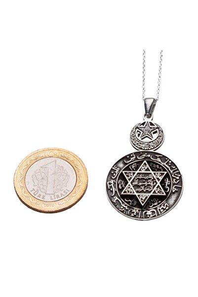 Anı Yüzük Kadın  Gümüş Ay Yıldızlı Mührü Süleyman Bayan Kolye Gümüş Renk 925 Ayar