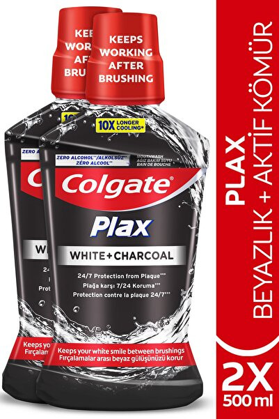 Colgate Plax Beyazlık + Aktif Kömür Beyazlatıcı Ağız Bakım Suyu 500 Ml X 2 Adet