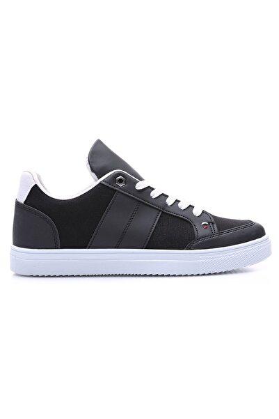 Tommy Life Tommylife Siyah-beyaz Erkek Bağcıklı Suni Deri Detaylı Spor Ayakkabı-89065