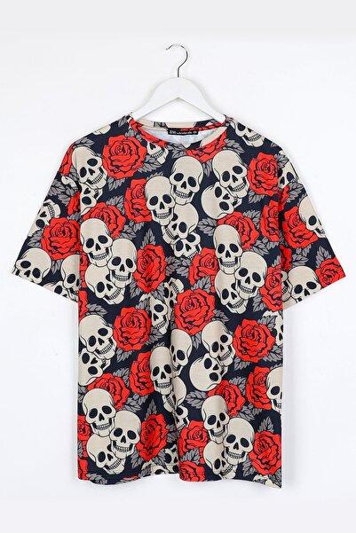 Sekizbiraltı Dijital Baskılı Kurukafa- Gül Oversize Unisex Tshirt