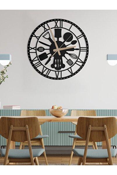 Metalium Concept Metal Duvar Saati Mutfak (Çatal Kaşık) Temalı