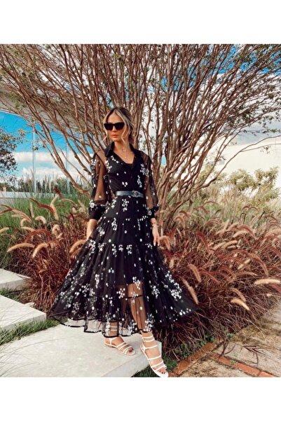 JANES Kadın Siyah Ithal Flok Kumaş Astarlı Elbise (KEMER DAHİL DEĞİLDİR)