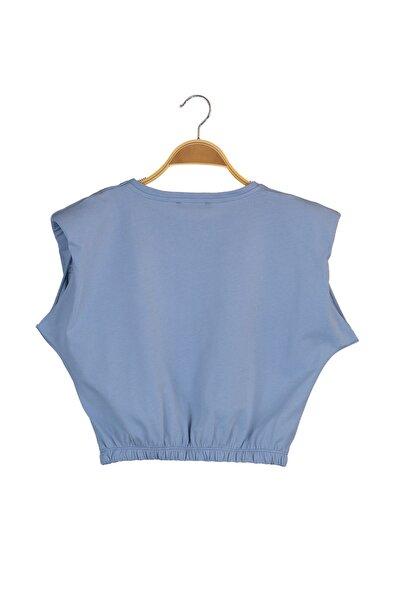 TRENDYOLMİLLA Mavi Vatkalı Crop Örme T-Shirt TWOSS21TS0379