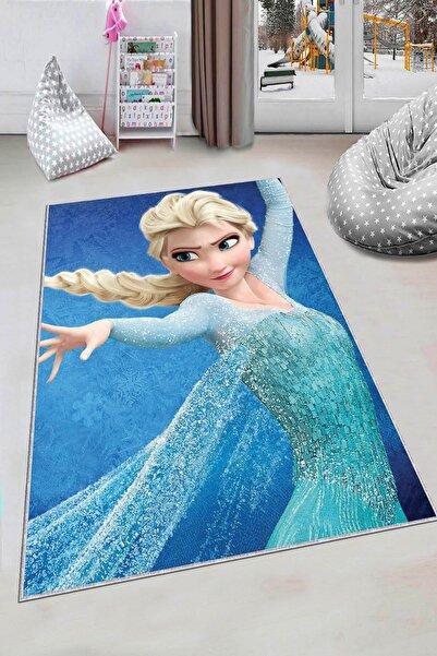 NeluxHome Makinede Yıkanabilir Kaymaz Tabanlı Kız Çocuk Halısı Frozen Elsa Ck034