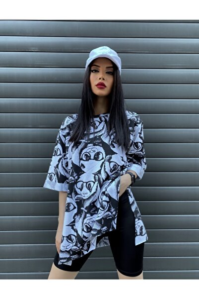 Mixray Kadın Siyah Panda Desenli Oversize T-shirt