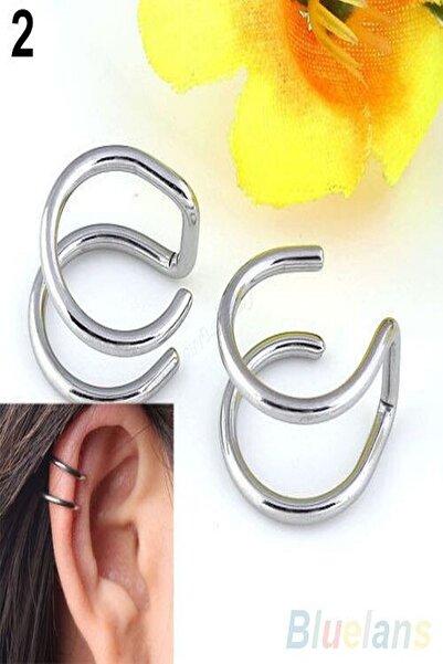axexuar Gümüş Renk Sıkıştırmalı Kıstırmalı Çelik Küpe Kıkırdak Dudak Burun Küpesi Piercing Deliksiz Kulaklar