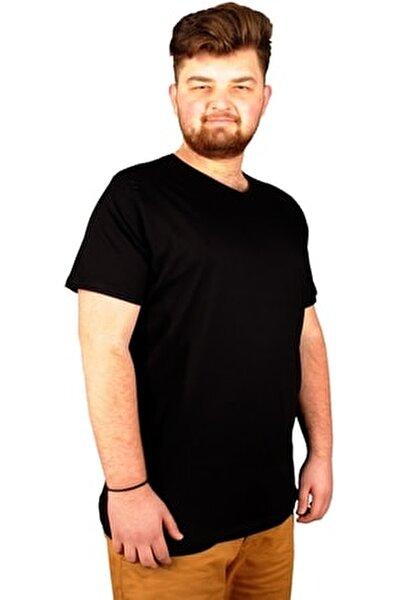 Büyük Beden Erkek Tshirt V Yaka Basic 20032 Siyah