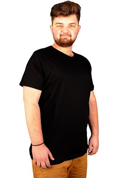 ModeXL Büyük Beden Erkek Tshirt V Yaka Basic 20032 Siyah