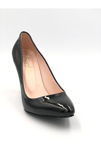 Sanita Kadın Topuklu Stiletto Ayakkabı Siyah Rugan