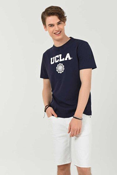 UCLA Erkek Koyu Lacivert Gayley Bisiklet Yaka Baskılı T-shirt