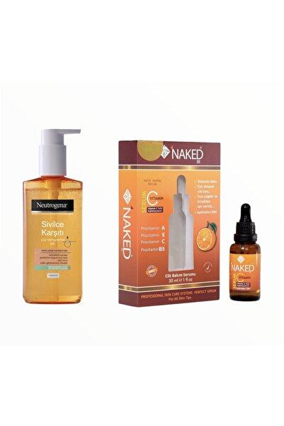 Neutrogena Sivilce Karşıtı Yüz Temizleme Jeli 200ml Ve Cilt Tonu Eşitleyici C Vitamin Serumu 30ml