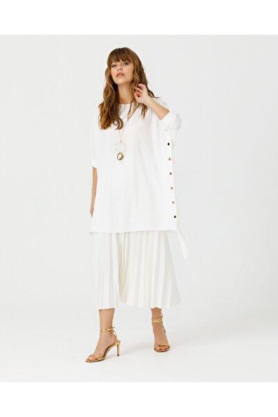 SCL Kadın Beyaz Zımba Detaylı Tunik