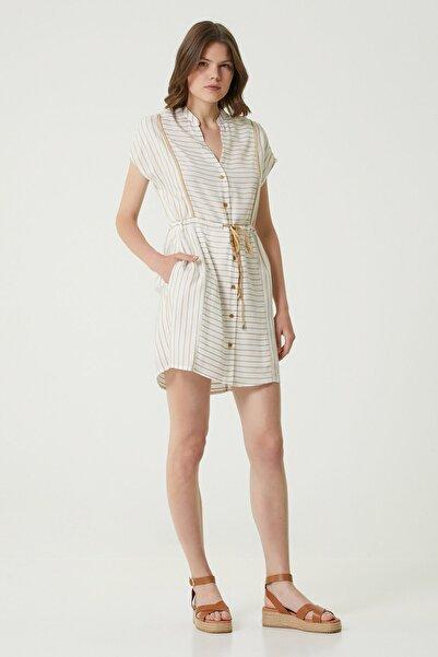 Network Kadın Basic Fit Ekru Çizgili Mini Elbise 1079830