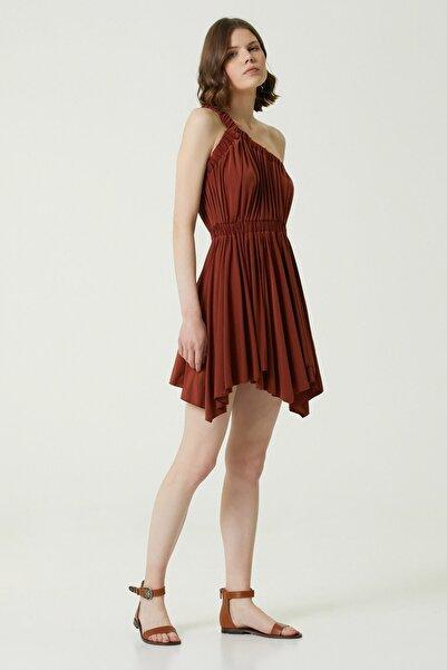 Network Kadın Slim Fit Kiremit Asimetrik Kesim Mini Elbise 1078668