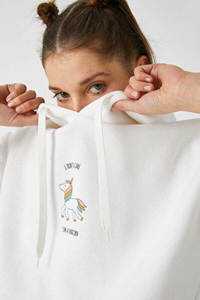Koton Kadın Kırık Beyaz Sweatshirt 1YAL68000IK