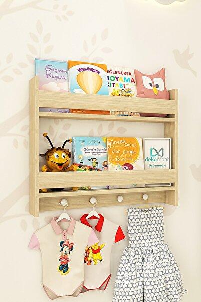 Dekomotif Montessori 2 Raflı Meşe Renk Çocuk Odası Eğitici Kitaplık Kıyafet Askılı