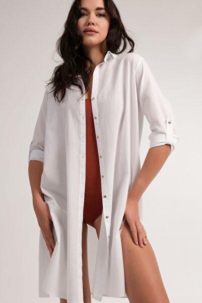 Pattaya Kadın Beyaz Gömlek Plaj Elbisesi