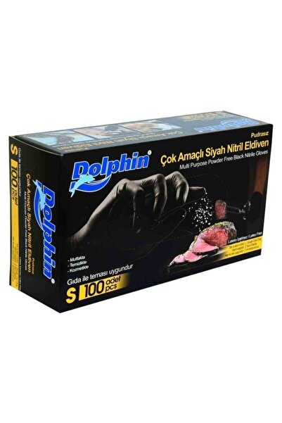 Dolphin Çok Amaçlı Siyah Nitril Eldiven (S) 100lü (GIDAYA UYGUN)