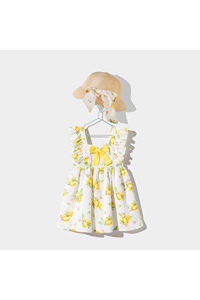 Le Mabelle Kız Çocuk Beyaz Limonlu Kız Çocuk Elbise Set