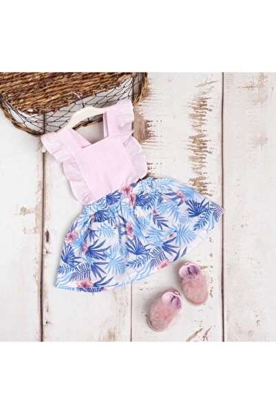 Le Mabelle Mavi Çiçekli Keten Askılı Elbise
