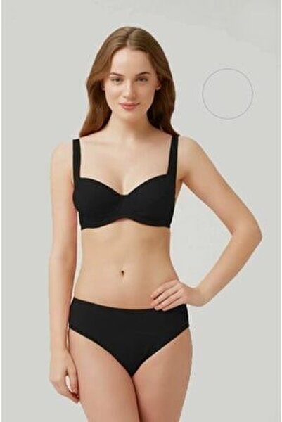 Uzun Ömürlü Kendinden Dokulu Klasik Fabıan Siyah Bikini