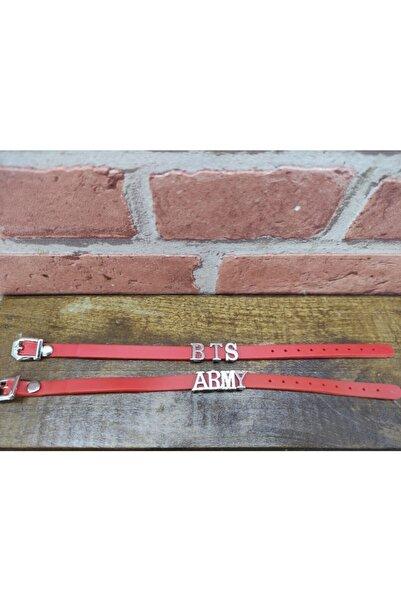 ema Unisex Kırmızı K Pop Bts Army Hediyelik Süs Aksesuar Şık Takı Eşya Bileklik Set