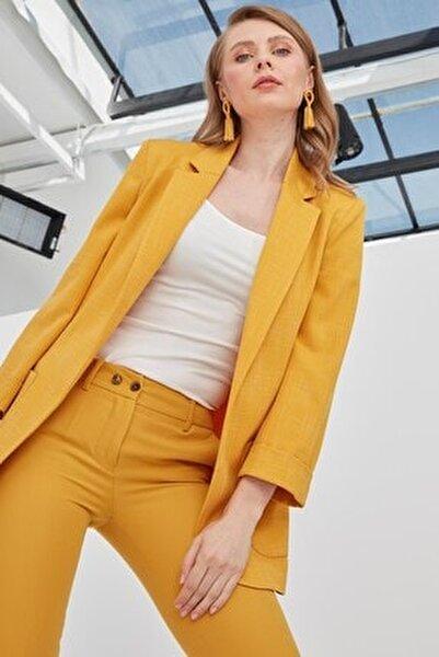 Kadın Koyu Sarı Ceket Klasik Yaka Rahat Kesim Astarsız