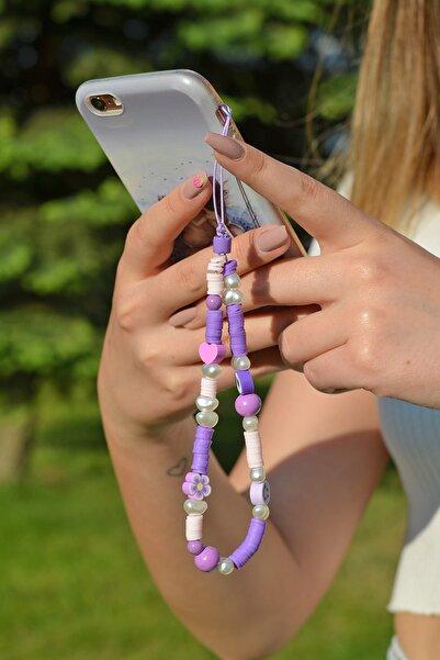 Scarves&Accessories Lila Renkli Boncuklu Küçük Boy Telefon Askısı Charmı Aksesuarı
