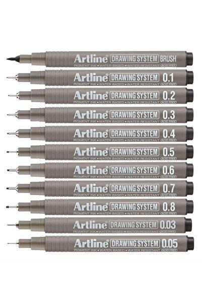artline Drawing System Teknik Çizim Kalemi 11'li Tam Set-2