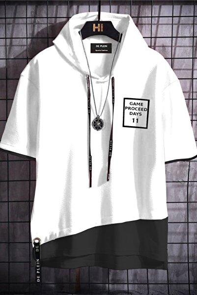 DE PLEIN Unisex Beyaz Oversize Kapüşonlu % 100 Pamuk T-shirt