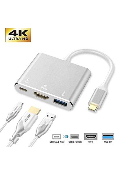 HMXPLUS Macbook 3 In 1 Type-c To Hdmı Usb 3.0 Çevirici Dönüştürücü Adaptör