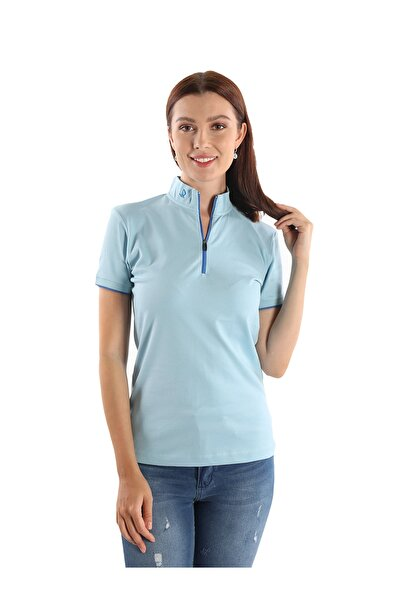 Giorgio Di Mare Kadın Mavi Basic Nefes Alan Dik Yaka T-shirt