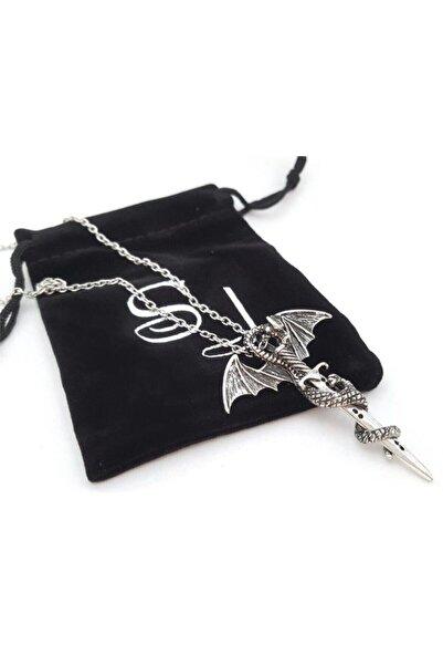 Köstebek Game Of Thrones - Targaryen Dragon & Sword Fosforlu Kolye