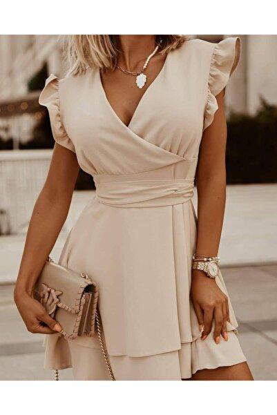 JANES Kruvaze Yaka Aerobin Kumaş Kuşaklı Elbise